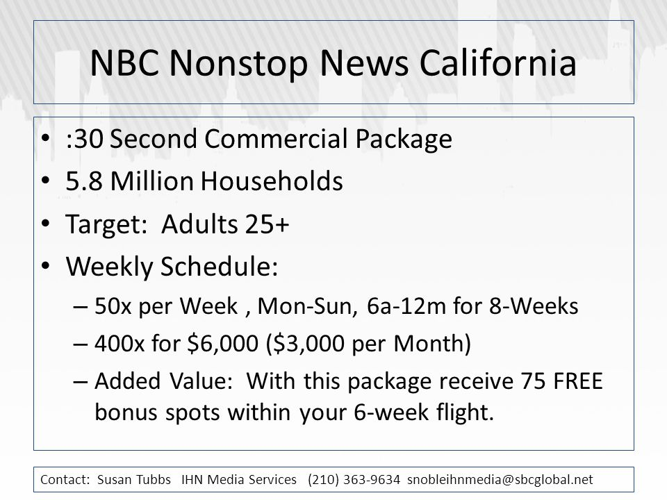 NBC Nonstop News California :30 Second Commercial Package 5.8 Million Households Target: Adults 25+ Weekly Schedule: – 50x per Week, Mon-Sun, 6a-12m for 8-Weeks – 400x for $6,000 ($3,000 per Month) – Added Value: With this package receive 75 FREE bonus spots within your 6-week flight.
