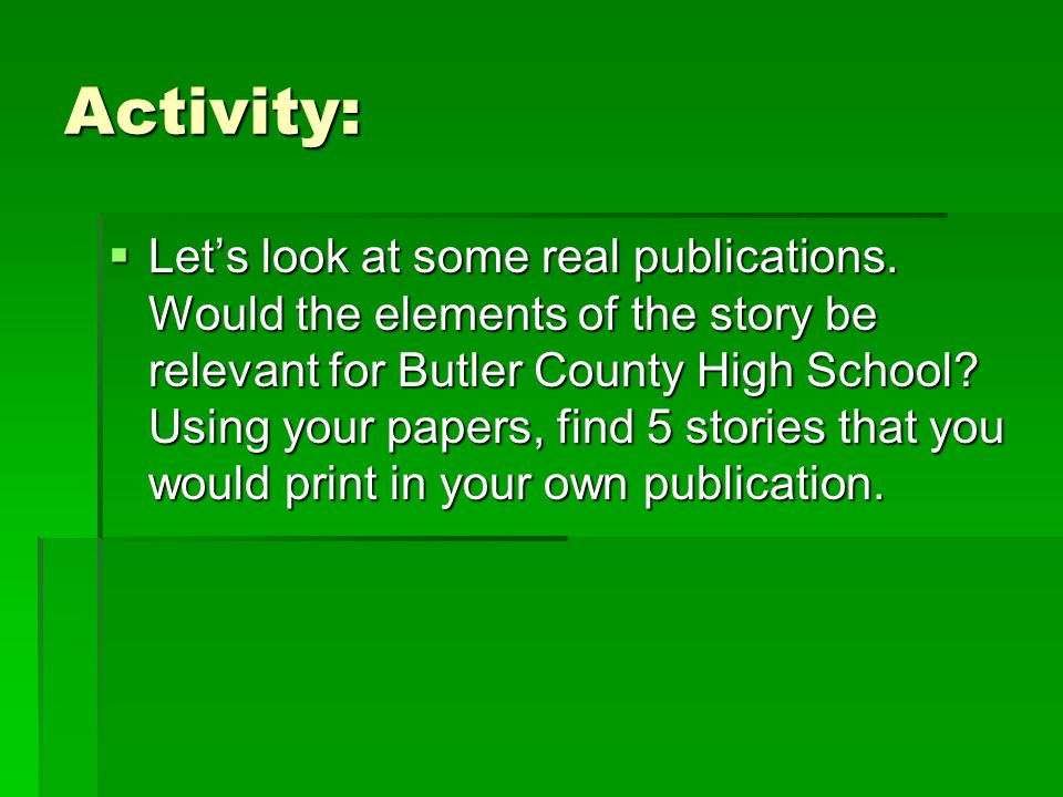 Activity: Lets look at some real publications.