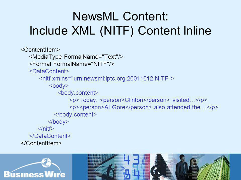 NewsML Content: Include XML (NITF) Content Inline Today, Clinton visited… Al Gore also attended the…