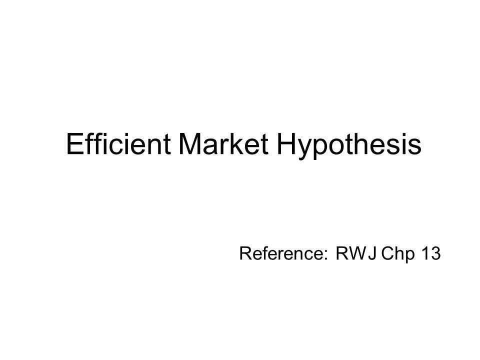 A Description of Efficient Capital Markets An efficient capital market is one in which stock prices fully reflect available information.
