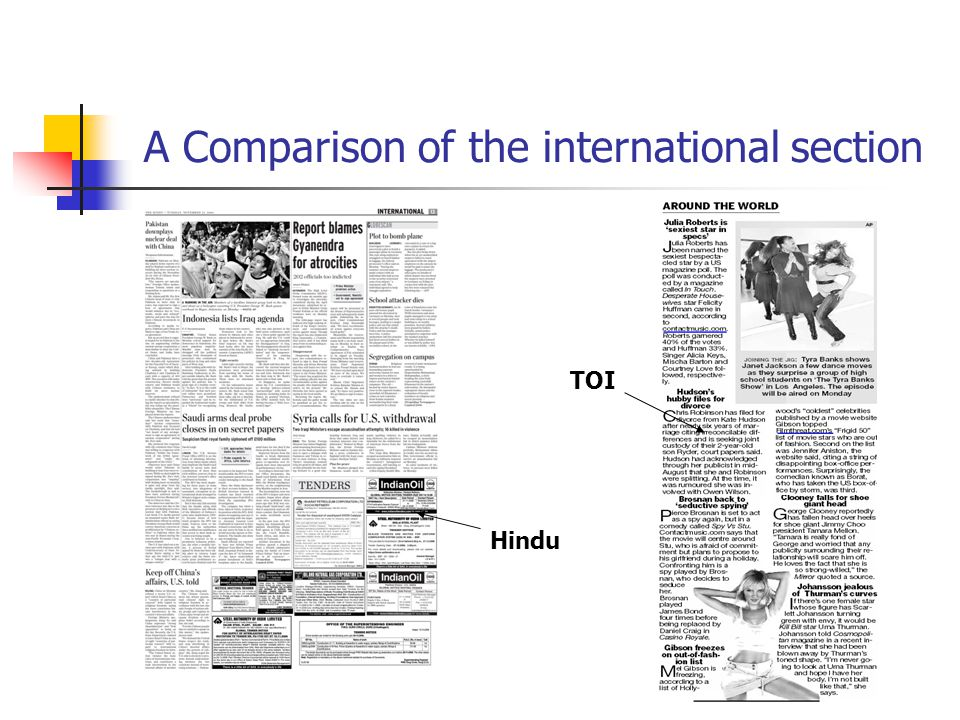 A Comparison of the international section TOI Hindu