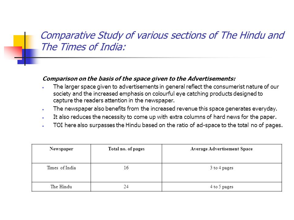 Comparative Study of various sections of The Hindu and The Times of India: Comparison on the basis of the space given to the Advertisements: The larger space given to advertisements in general reflect the consumerist nature of our society and the increased emphasis on colourful eye catching products designed to capture the readers attention in the newspaper.