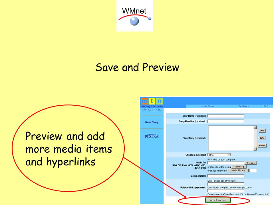 Save and Preview Preview and add more media items and hyperlinks
