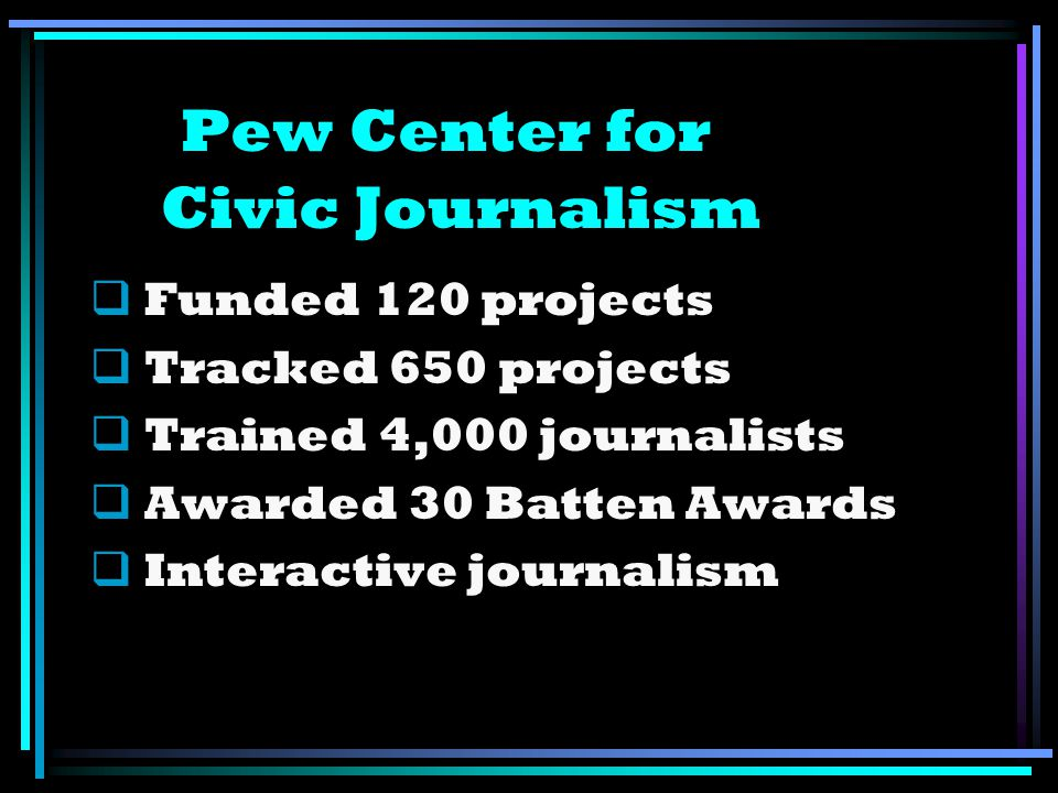 Pew Center for Civic Journalism Funded 120 projects Tracked 650 projects Trained 4,000 journalists Awarded 30 Batten Awards Interactive journalism