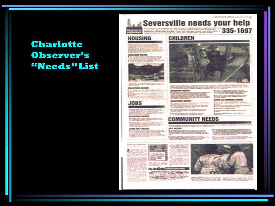 Charlotte Observers Needs List