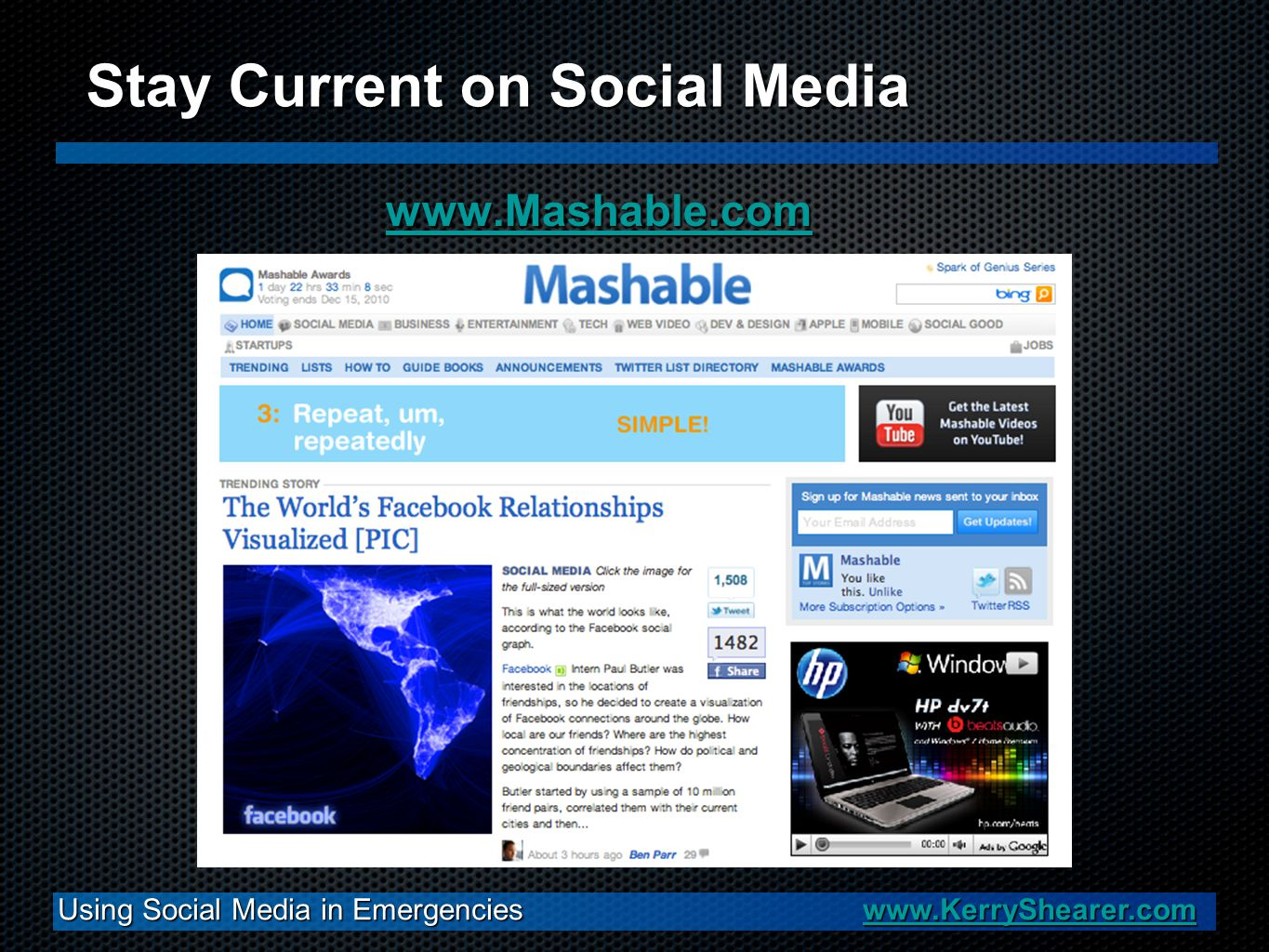 www.Mashable.com Using Social Media in Emergencies www.KerryShearer.com www.KerryShearer.com Stay Current on Social Media
