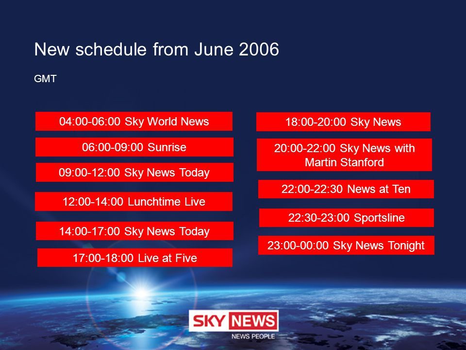 New schedule from June 2006 GMT 04:00-06:00 Sky World News 06:00-09:00 Sunrise 09:00-12:00 Sky News Today 12:00-14:00 Lunchtime Live 14:00-17:00 Sky N