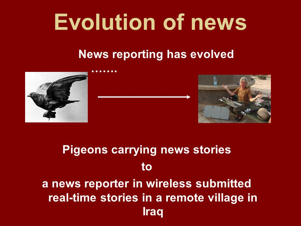 Evolution of news News reporting has evolved …….