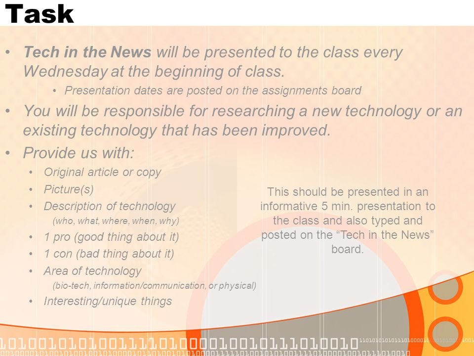 Task Tech in the News will be presented to the class every Wednesday at the beginning of class. Presentation dates are posted on the assignments board