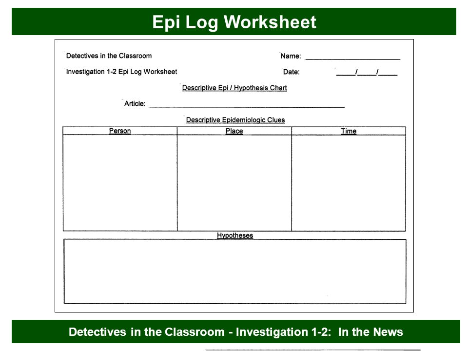 Epi Log Worksheet Detectives in the Classroom - Investigation 1-2: In the News