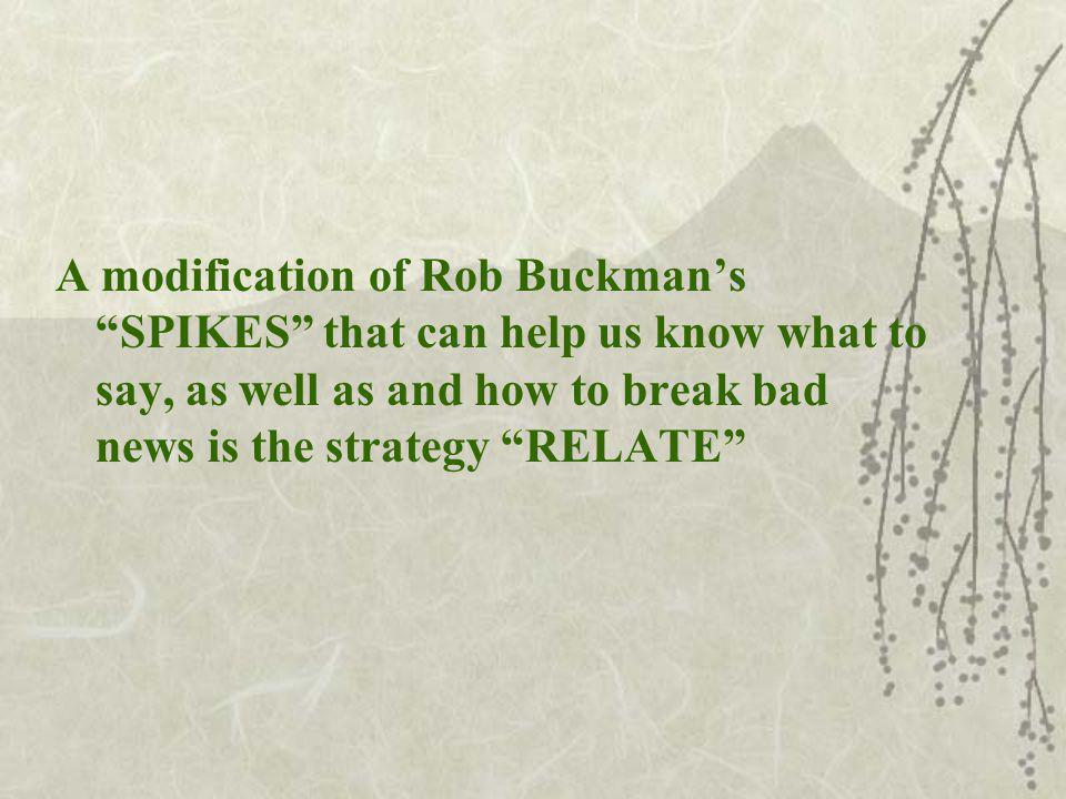 A modification of Rob Buckmans SPIKES that can help us know what to say, as well as and how to break bad news is the strategy RELATE
