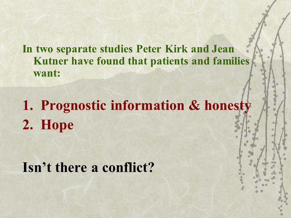 In two separate studies Peter Kirk and Jean Kutner have found that patients and families want: 1.