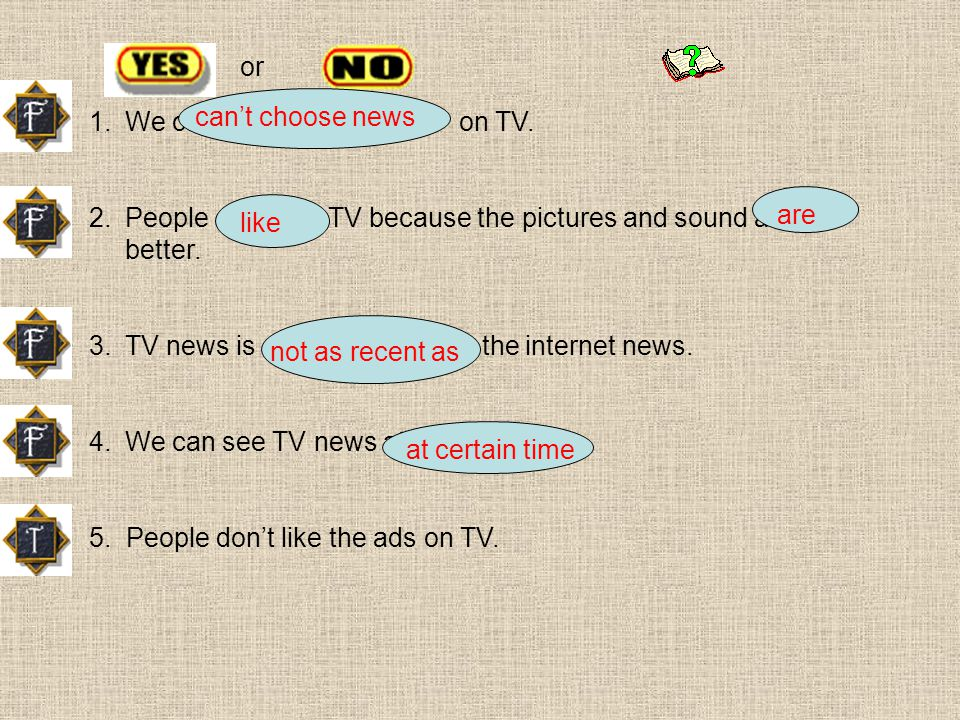 1.We can choose news on TV. 2.People dont like TV because the pictures and sound are not better.