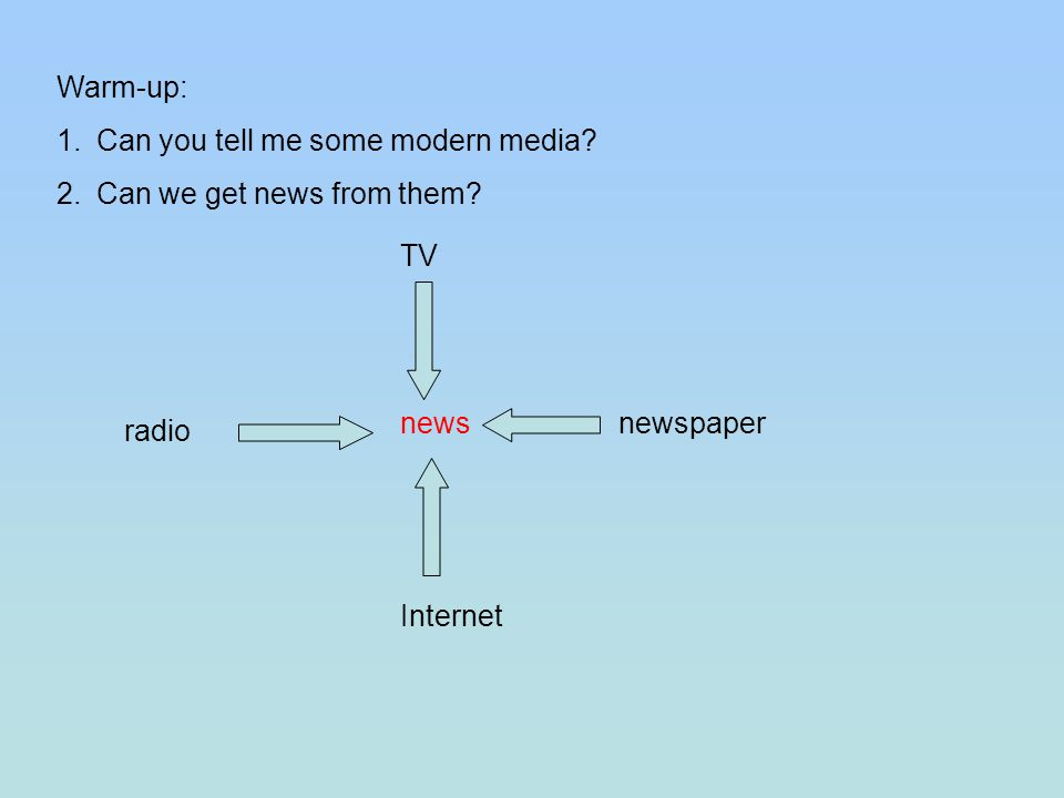 Warm-up: 1.Can you tell me some modern media? 2.Can we get news from them? TV newspaper radio Internet news