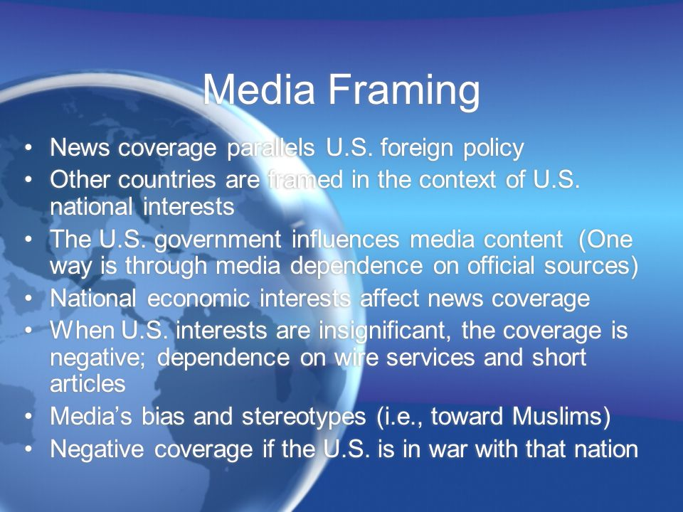 Media Framing News coverage parallels U.S.