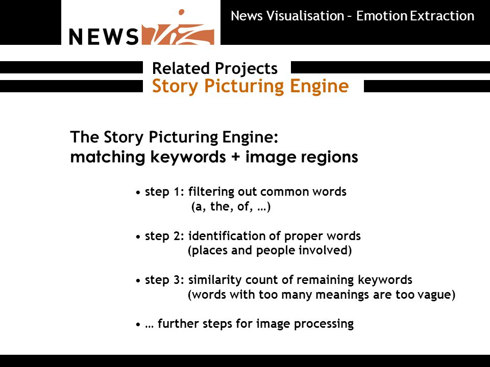 The Story Picturing Engine: matching keywords + image regions step 1: filtering out common words (a, the, of, …) step 2: identification of proper words (places and people involved) step 3: similarity count of remaining keywords (words with too many meanings are too vague) … further steps for image processing Story Picturing Engine Related Projects News Visualisation – Emotion Extraction