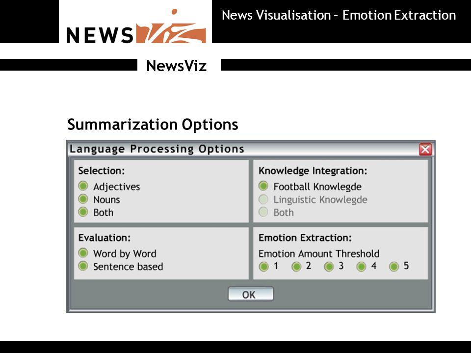Summarization Options NewsViz News Visualisation – Emotion Extraction