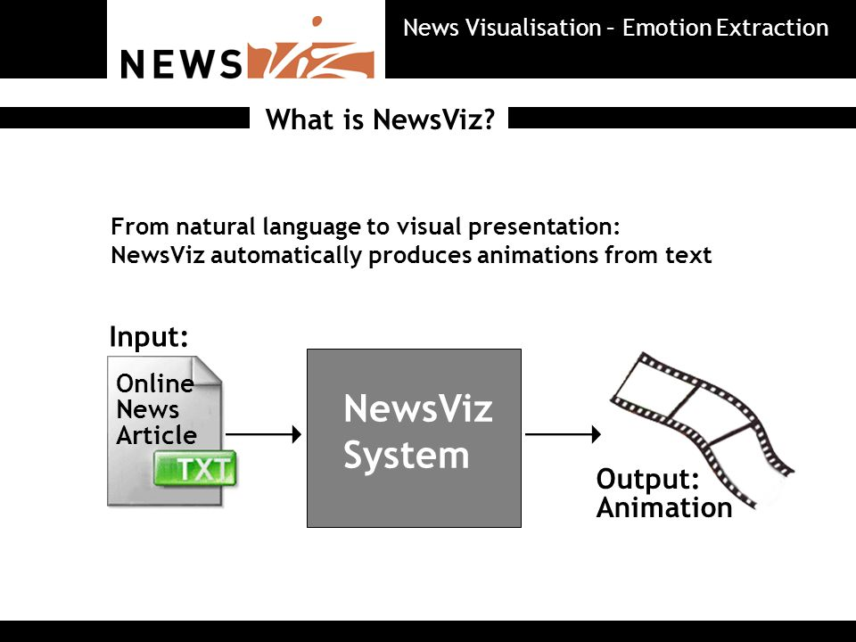 Aim: Animation embedded into news website Objectives: Entertainment Quick overview Emotional aspects >> view website What is NewsViz.