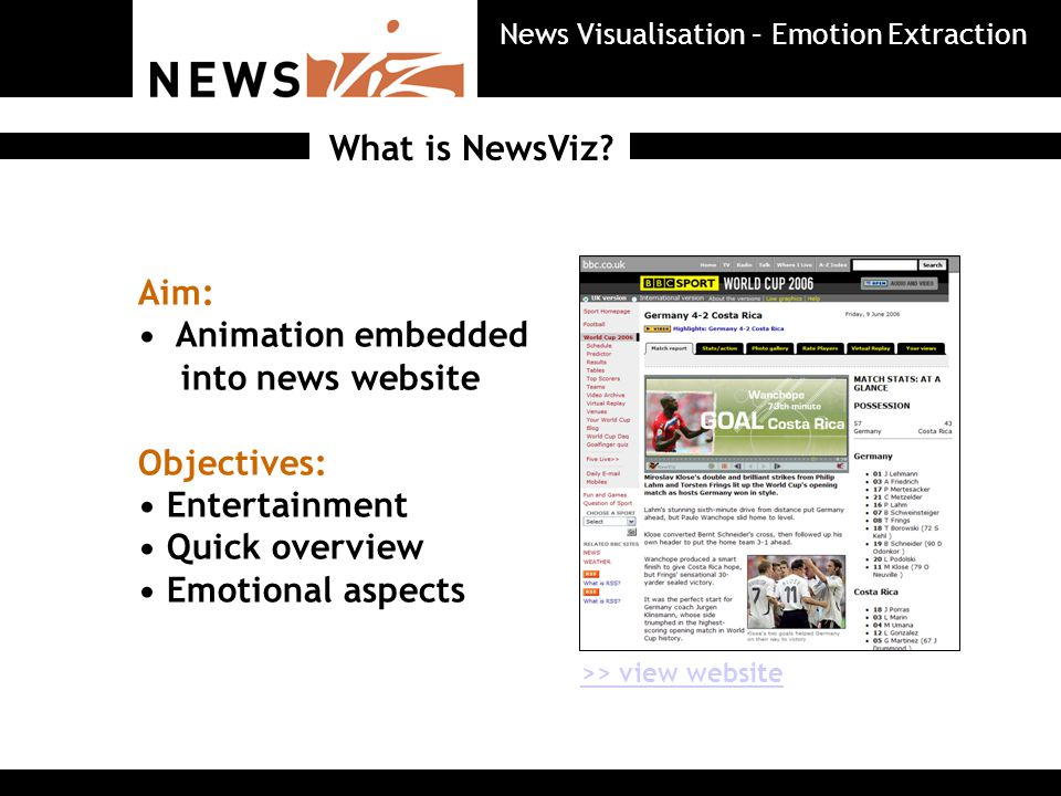 Emotion Visualiser NewsViz News Visualisation – Emotion Extraction