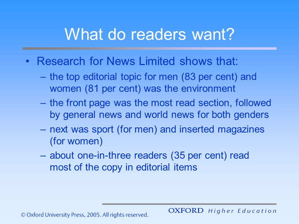 What do readers want? Research for News Limited shows that: –the top editorial topic for men (83 per cent) and women (81 per cent) was the environment