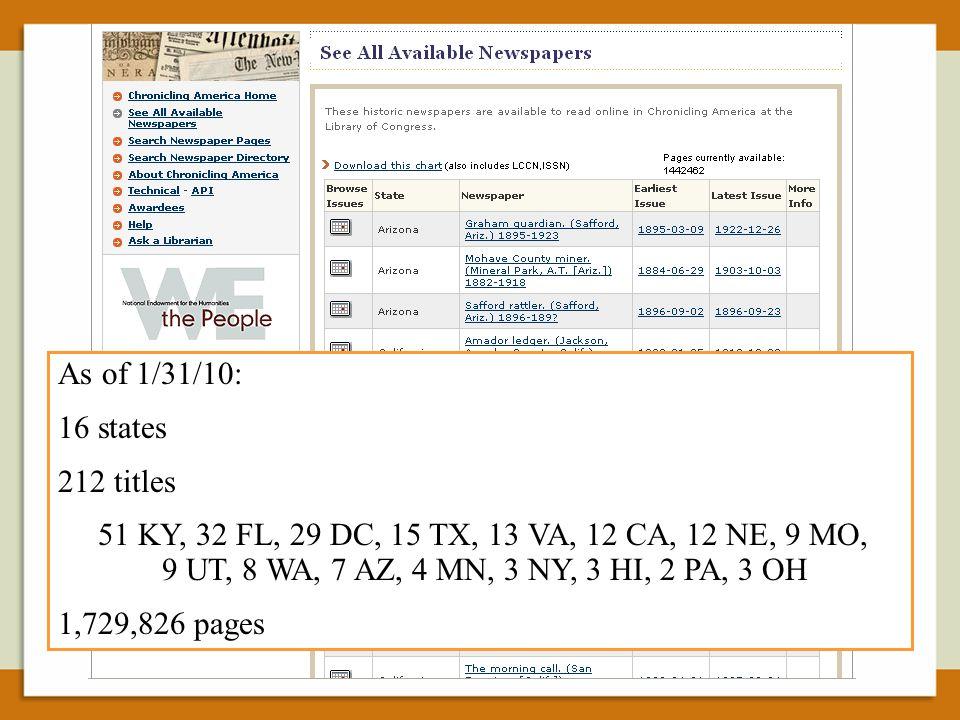 As of 1/31/10: 16 states 212 titles 51 KY, 32 FL, 29 DC, 15 TX, 13 VA, 12 CA, 12 NE, 9 MO, 9 UT, 8 WA, 7 AZ, 4 MN, 3 NY, 3 HI, 2 PA, 3 OH 1,729,826 pages