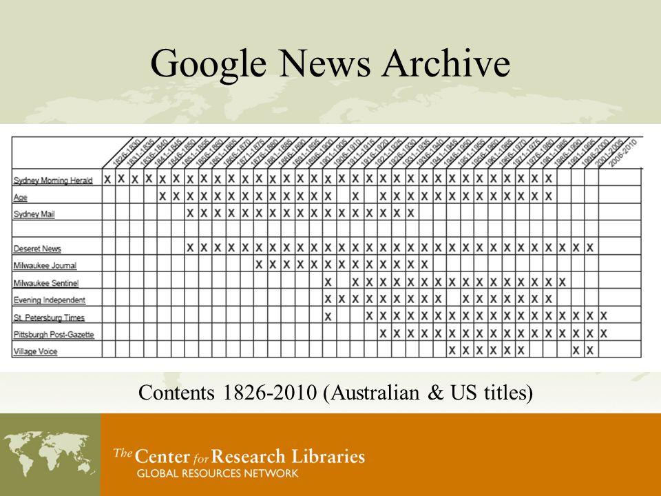 Google News Archive Contents 1826-2010 (Australian & US titles)