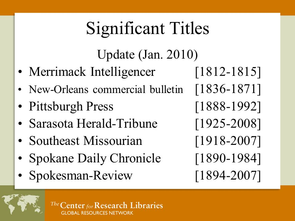 Significant Titles Update (Jan.