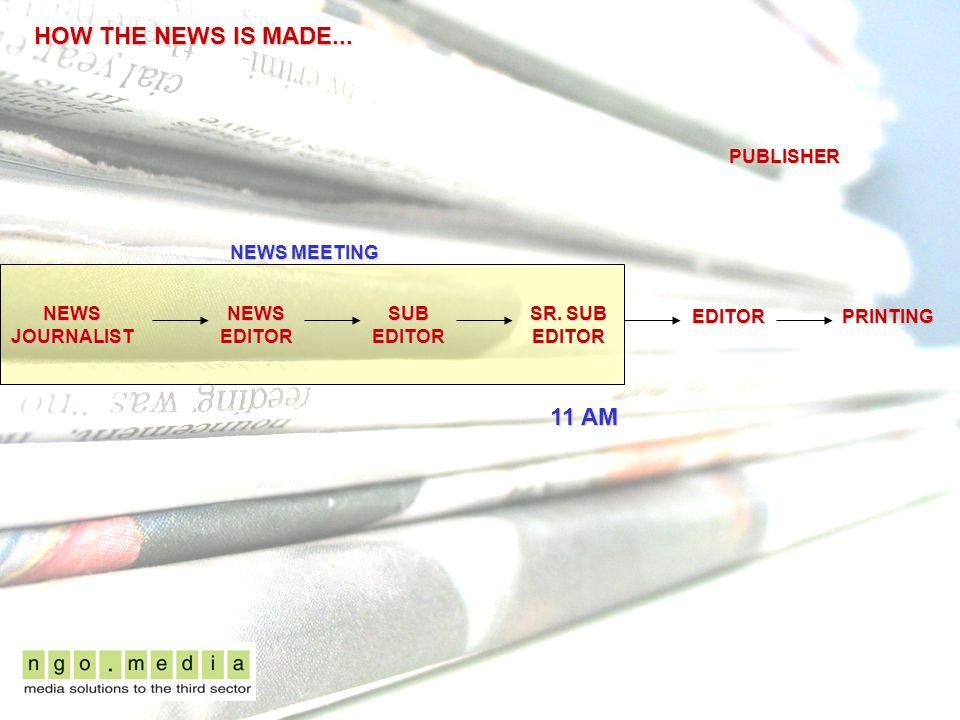 HOW THE NEWS IS MADE... NEWS JOURNALIST NEWS EDITOR EDITOR SUB EDITOR SR.