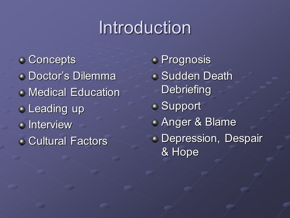 Introduction Concepts Doctors Dilemma Medical Education Leading up Interview Cultural Factors Prognosis Sudden Death Debriefing Support Anger & Blame Depression, Despair & Hope