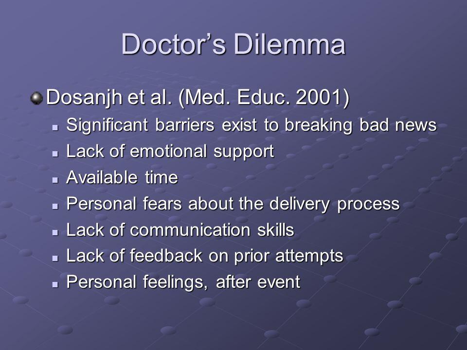 Doctors Dilemma Dosanjh et al. (Med. Educ.