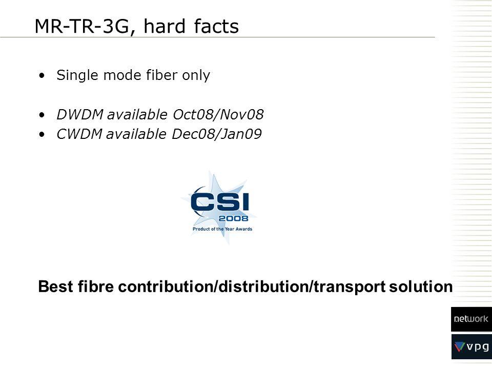 Single mode fiber only DWDM available Oct08/Nov08 CWDM available Dec08/Jan09 MR-TR-3G, hard facts Best fibre contribution/distribution/transport solut