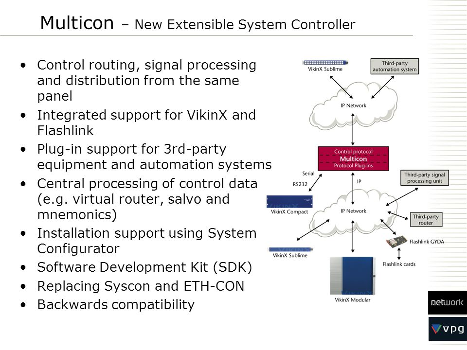 Multicon – New Extensible System Controller Control routing, signal processing and distribution from the same panel Integrated support for VikinX and