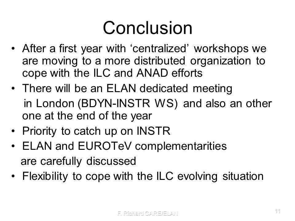 Conclusion After a first year with centralized workshops we are moving to a more distributed organization to cope with the ILC and ANAD efforts There will be an ELAN dedicated meeting in London (BDYN-INSTR WS) and also an other one at the end of the year Priority to catch up on INSTR ELAN and EUROTeV complementarities are carefully discussed Flexibility to cope with the ILC evolving situation