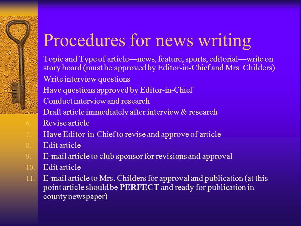 Procedures for news writing 1.