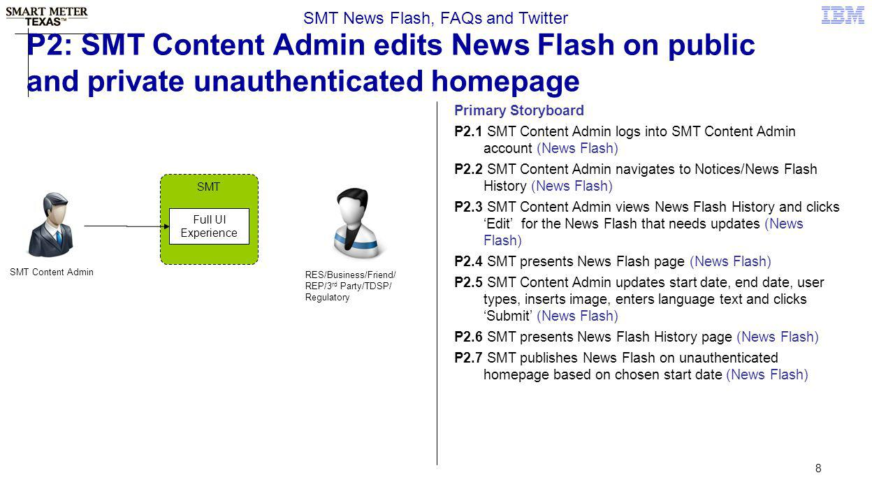 8 P2: SMT Content Admin edits News Flash on public and private unauthenticated homepage SMT News Flash, FAQs and Twitter Primary Storyboard P2.1 SMT C