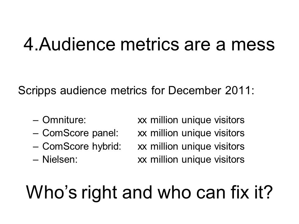 Scripps audience metrics for December 2011: –Omniture:xx million unique visitors –ComScore panel:xx million unique visitors –ComScore hybrid:xx million unique visitors –Nielsen:xx million unique visitors Whos right and who can fix it?