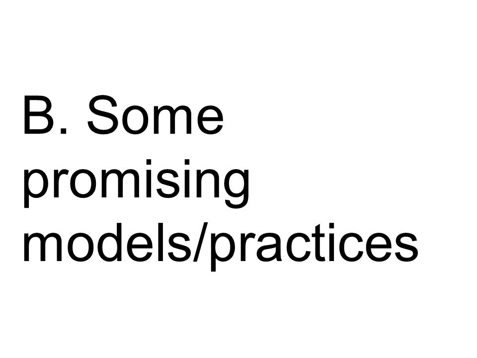 B. Some promising models/practices