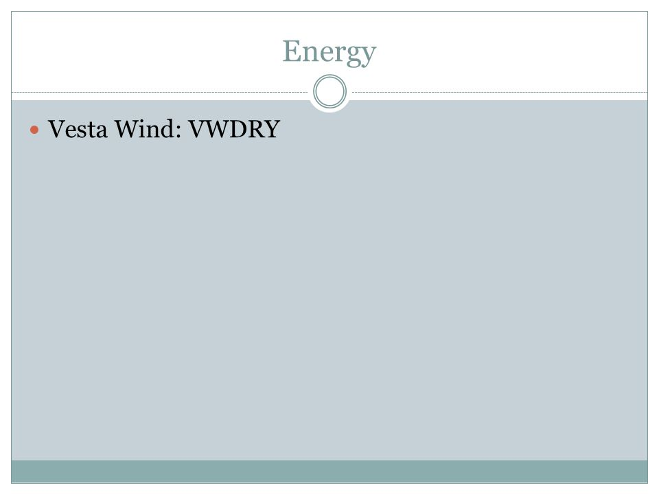 Energy Vesta Wind: VWDRY