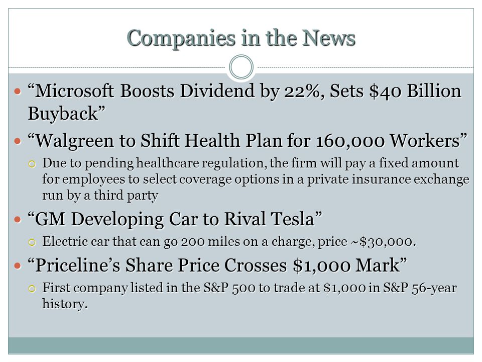 Companies in the News Microsoft Boosts Dividend by 22%, Sets $40 Billion Buyback Microsoft Boosts Dividend by 22%, Sets $40 Billion Buyback Walgreen to Shift Health Plan for 160,000 Workers Walgreen to Shift Health Plan for 160,000 Workers Due to pending healthcare regulation, the firm will pay a fixed amount for employees to select coverage options in a private insurance exchange run by a third party Due to pending healthcare regulation, the firm will pay a fixed amount for employees to select coverage options in a private insurance exchange run by a third party GM Developing Car to Rival Tesla GM Developing Car to Rival Tesla Electric car that can go 200 miles on a charge, price ~$30,000.