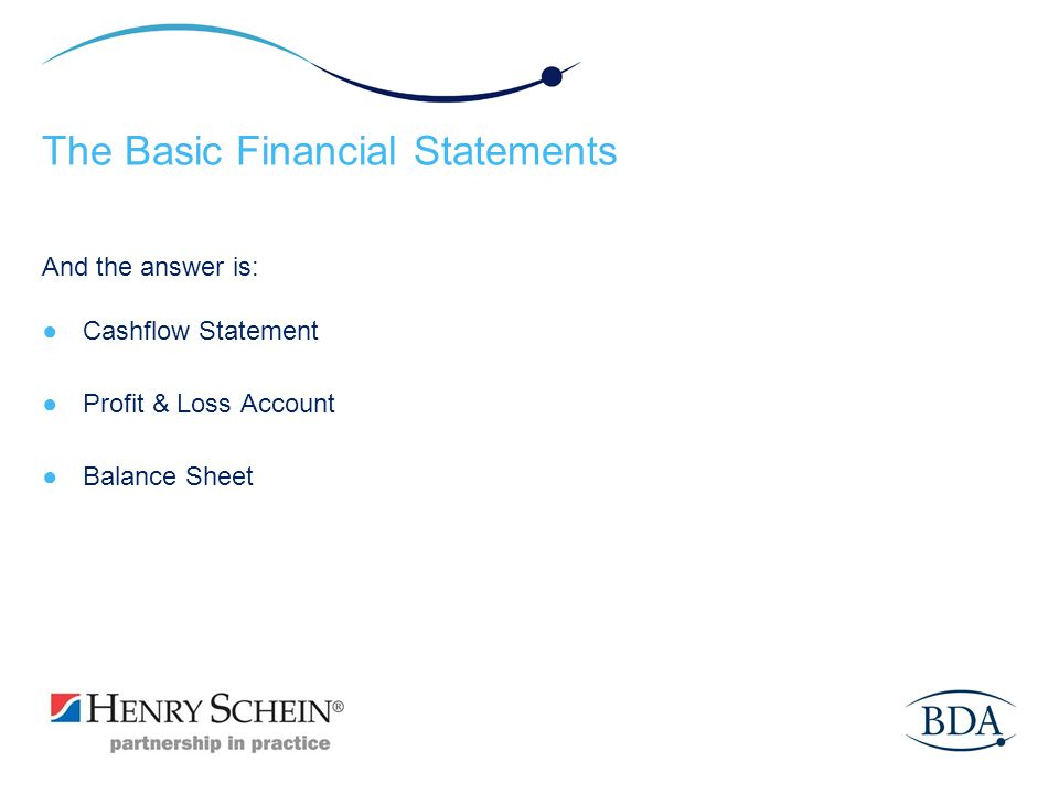 The Basic Financial Statements And the answer is: Cashflow Statement Profit & Loss Account Balance Sheet