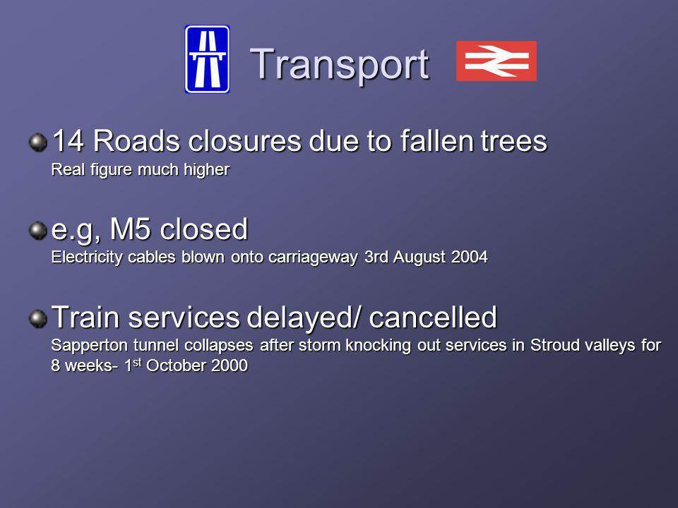 Transport 14 Roads closures due to fallen trees Real figure much higher e.g, M5 closed Electricity cables blown onto carriageway 3rd August 2004 Train services delayed/ cancelled Sapperton tunnel collapses after storm knocking out services in Stroud valleys for 8 weeks- 1 st October 2000