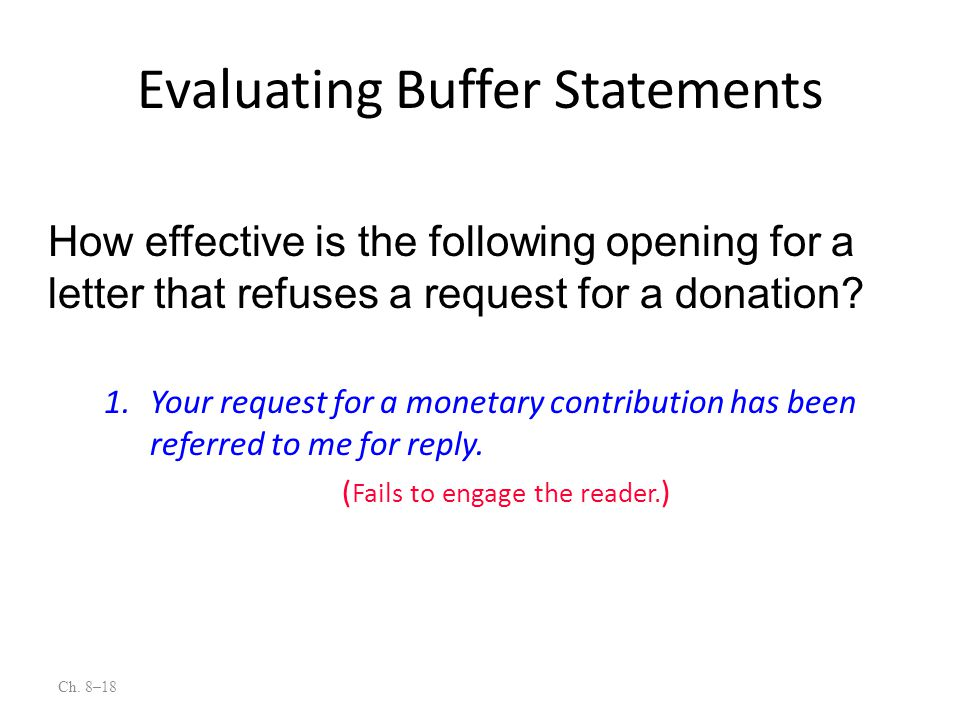 Ch. 8–18 1.Your request for a monetary contribution has been referred to me for reply. ( Fails to engage the reader. ) How effective is the following