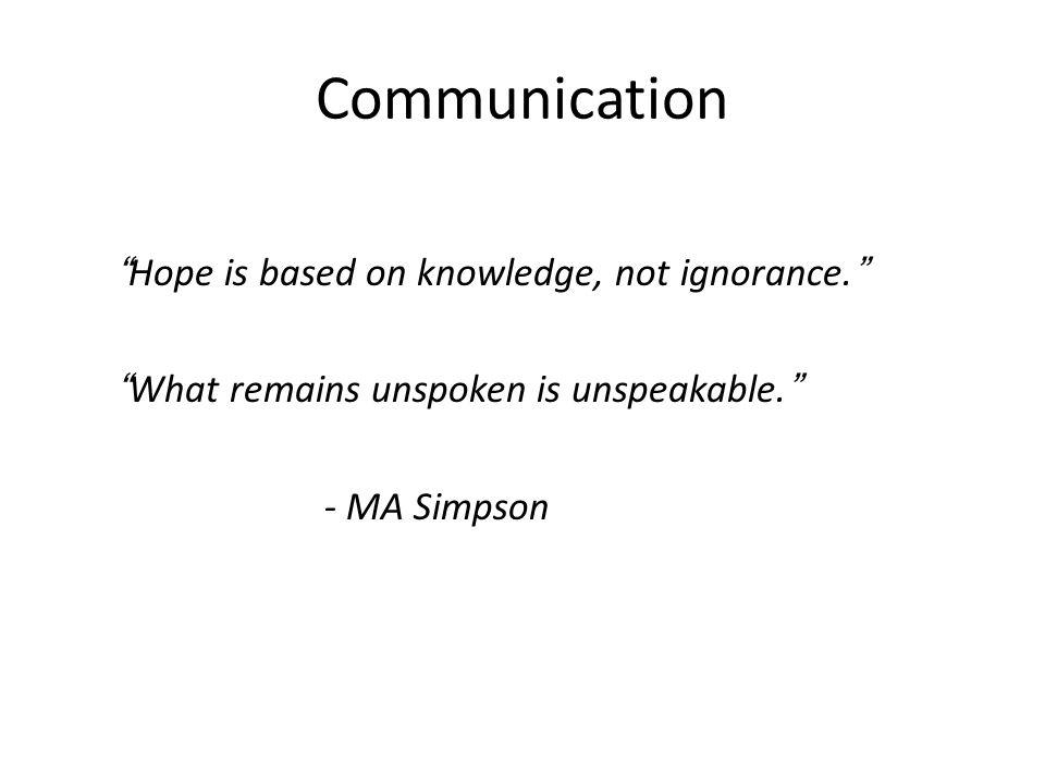 Communication Hope is based on knowledge, not ignorance.