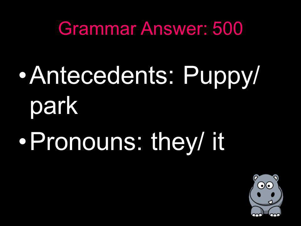 Grammar: 500 Every puppy has fun at the park, they love it! –Identify all the pronouns and antecedents.