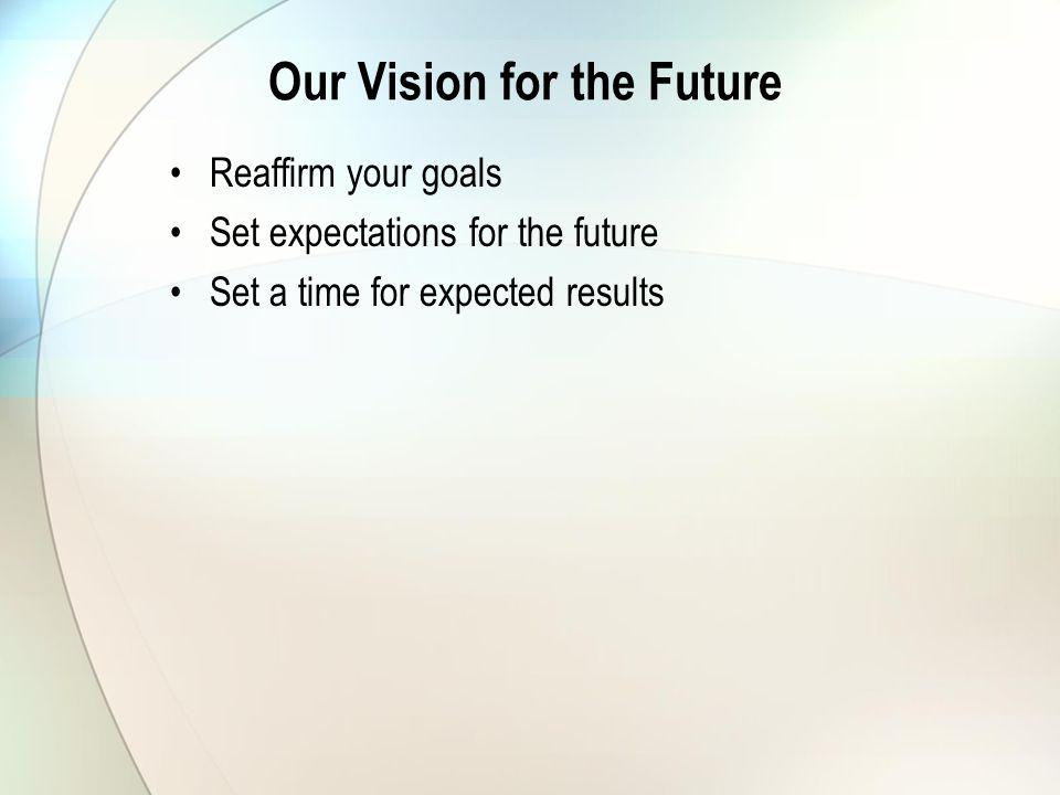 Our Vision for the Future Reaffirm your goals Set expectations for the future Set a time for expected results