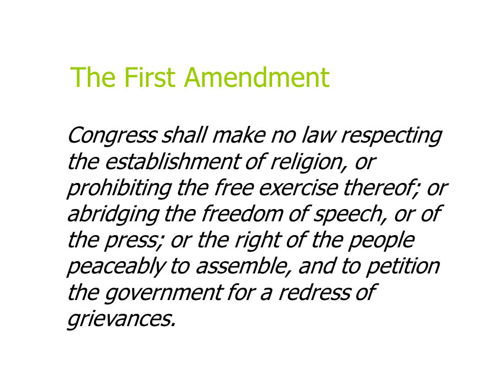 Material not protected By the First Amendment Powerpoint taken from Introduction to Journalism by Dianne Smith