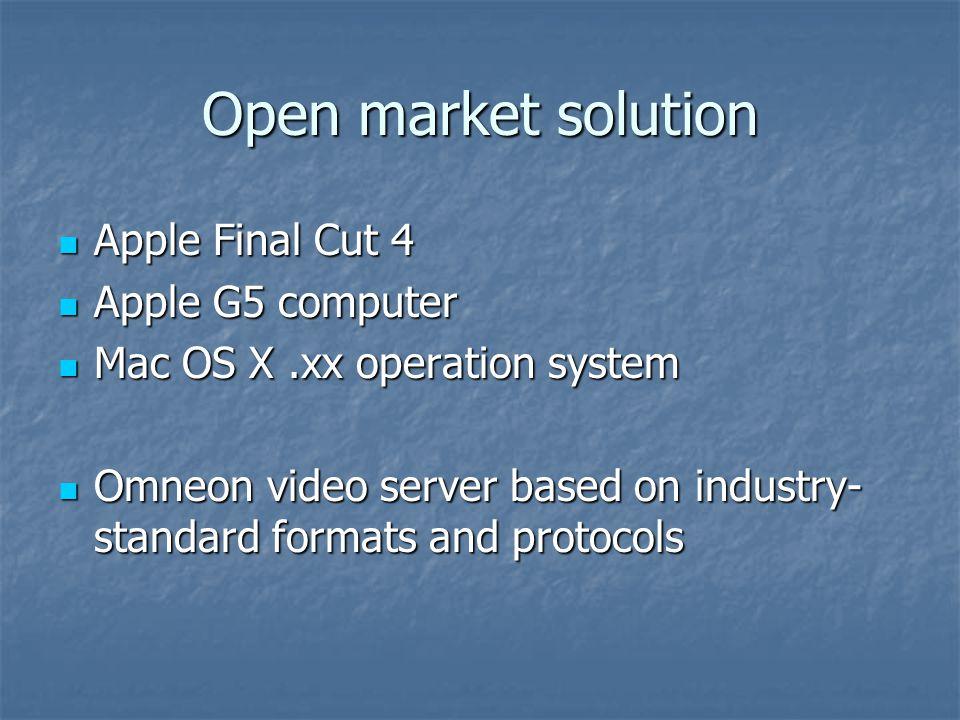 Open market solution Apple Final Cut 4 Apple Final Cut 4 Apple G5 computer Apple G5 computer Mac OS X.xx operation system Mac OS X.xx operation system