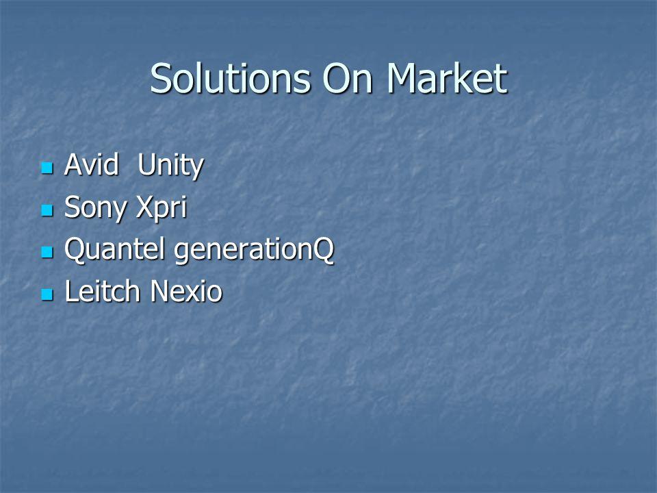 Solutions On Market Avid Unity Avid Unity Sony Xpri Sony Xpri Quantel generationQ Quantel generationQ Leitch Nexio Leitch Nexio