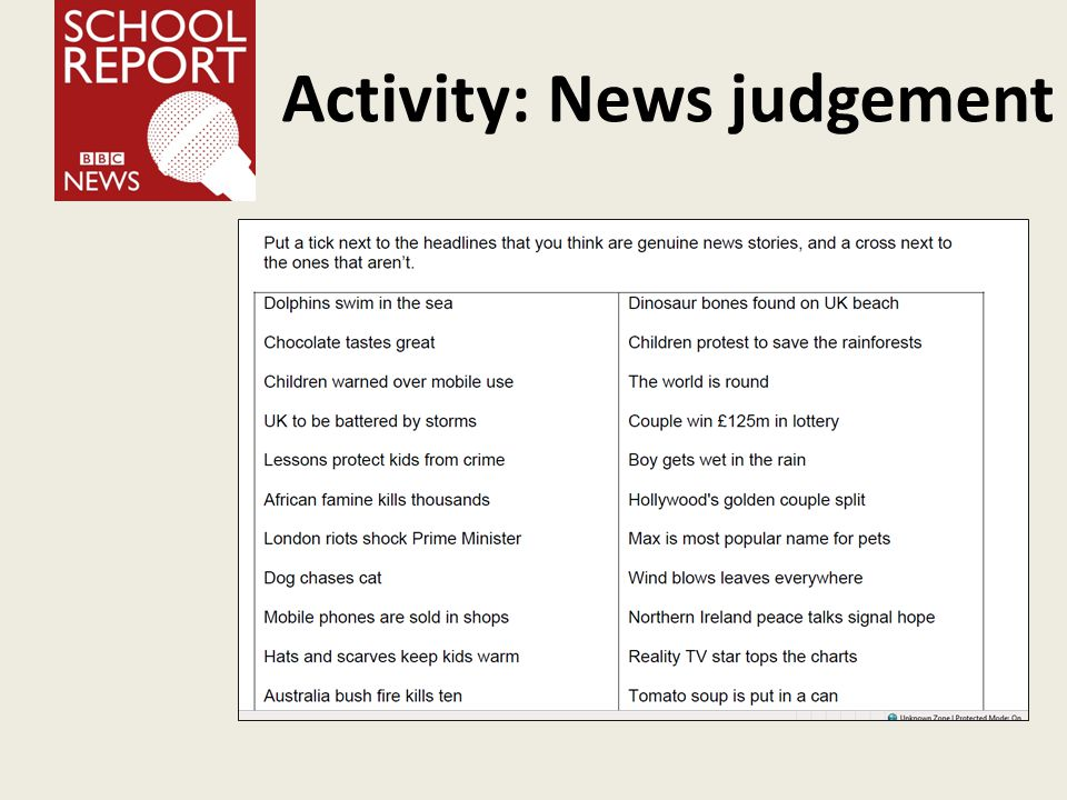 Activity: News judgement