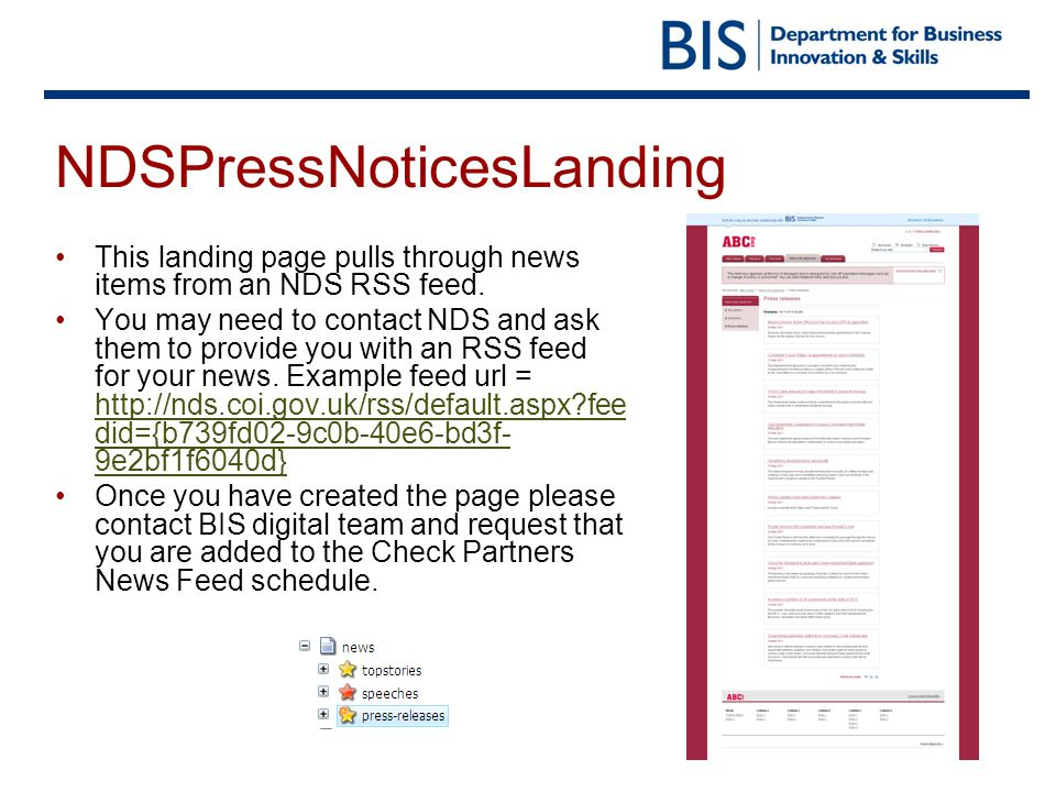 NDSPressNoticesLanding This landing page pulls through news items from an NDS RSS feed.